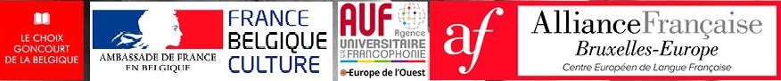 logo choix goncourt de la belgique, logo ambassade de france, logo agence universiteaire de la francophonie, logo alliance française bruxelles-europe